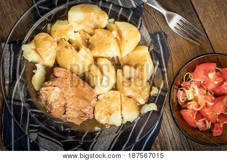 Stewed Pork Meat Served With Potatoes