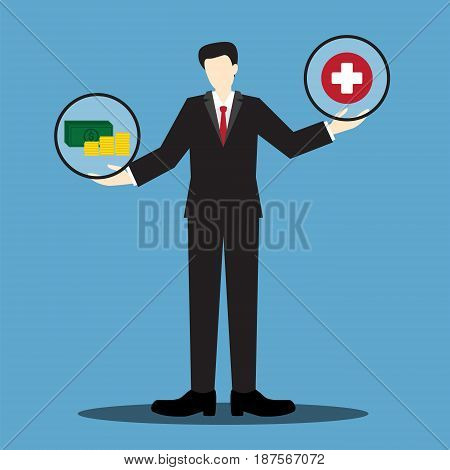 money and health businessman scale , balance life concept, concept of make money more important than your health, vector illustration