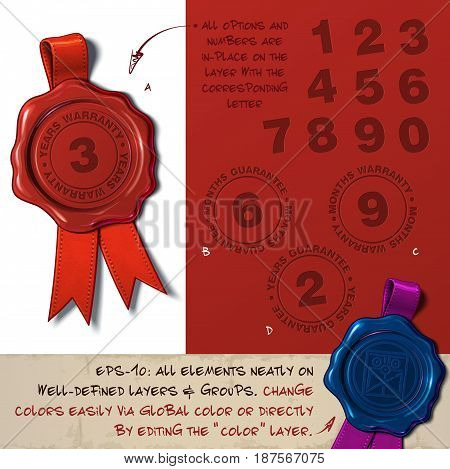 Vector Illustration of a wax seal with a set of stamps regarding Warranty Guarantee Months Years subjects. All design elements neatly on well-defined layers and groups