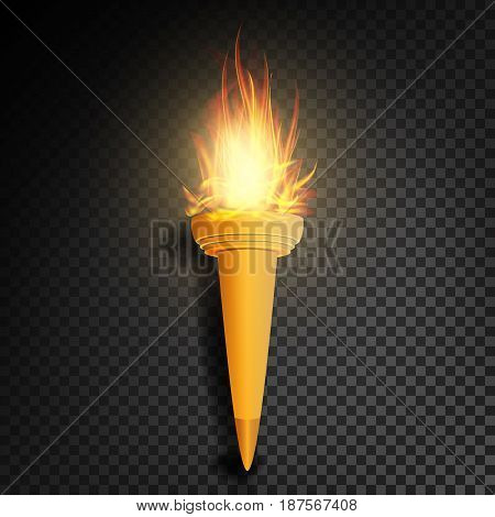Torch With Flame. Realistic Fire. Realistic Fire Torch Isolated On Transparent Background. Vector