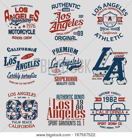 Set of nine LA graphic design, LA print stamp, LA wear typography emblem, Creative design, Vector