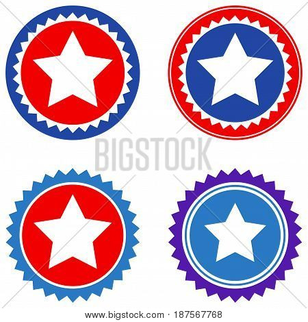 Round Star Seal Stamp flat vector pictograph set. An isolated icons on a white background.