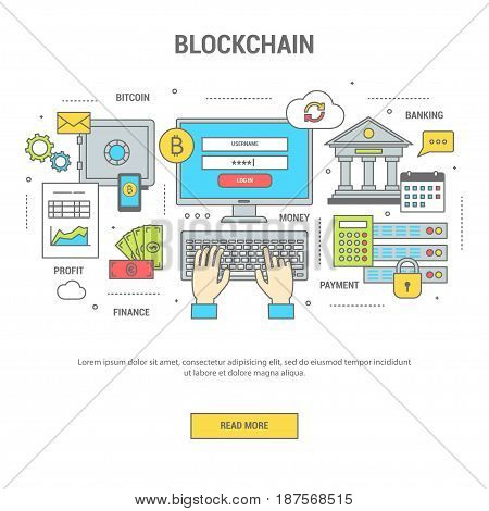 Blockchain concept finance banner flat design line art. Set of icons of banking and payment by bitcoins exchange of money. Vector illustration for web site application and print