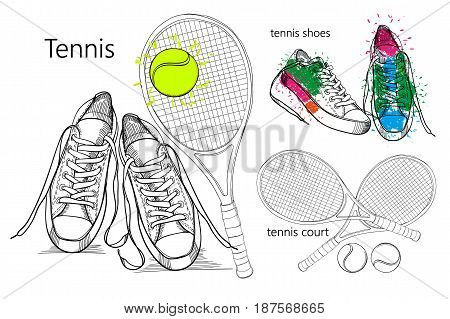 Vector illustraton of drawing Set of isolated objects sneakers with tennis racquet and ball, tennis court. Hand drawn and doodle footwear for logo.