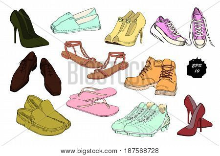 Vector illustration of Set hand drawn graphic Men and women Footwear, shoes. Casual and sport style, gumshoes for Shoes for all seasons. Moccasins, sneakers, boots, pumps. Doodle, drawing Design isolated object.