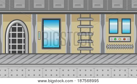 Seamless horizontal background with stairs and three windows for game