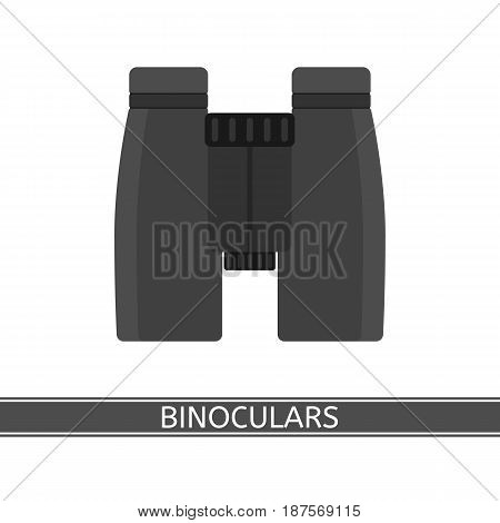 Binoculars icon vector illustration isolated on white background in flat style. For travel bird watching stargazing sightseeing.