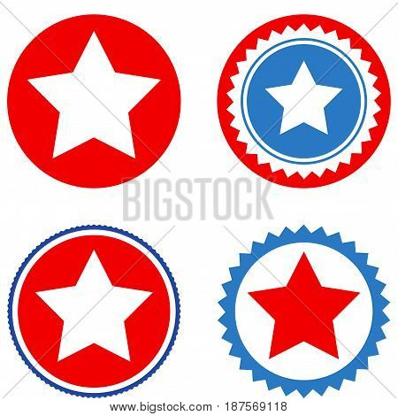 Star Seal Stamp flat vector icon collection. An isolated icons on a white background.