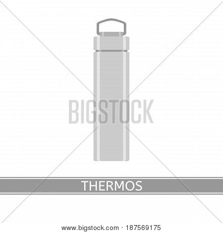 Camping steel thermos vector icon isolated on white background. Vacuum bottle in flat style.