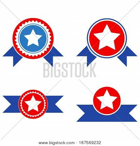 Star Seal With Ribbons flat vector illustration set. An isolated icons on a white background.