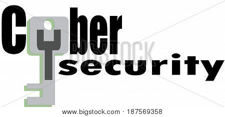 CyberSecurity Word conceptual Illustration. Cyber Security text isolated flat vector. Transparent.