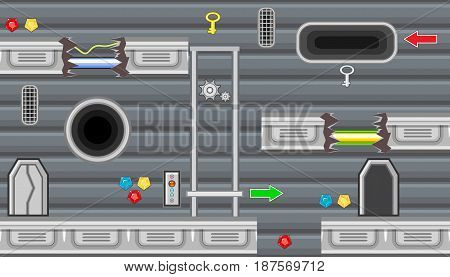 Seamless editable horizontal indoor background with elevator and green arrow for platform game
