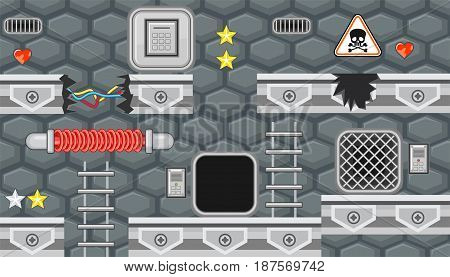 Seamless editable horizontal indoor background with heater and manholes for platform game