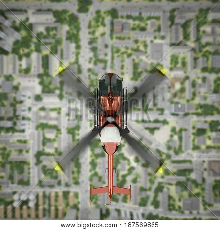 helicopter is flying over the city. top view. 3d rendering