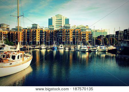St Katharine dock in London, United Kingdom .