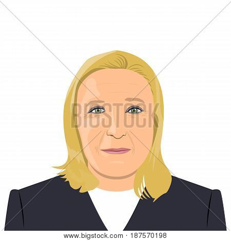 illustration of a French politician Marine Le Pen portrait on white background.