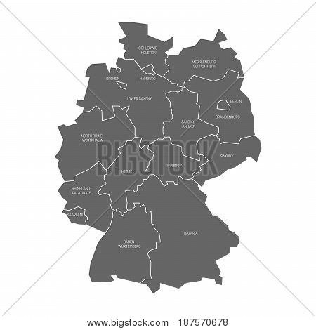 Map of Germany devided to 13 federal states and 3 city-states - Berlin, Bremen and Hamburg, Europe. Simple flat grey vector map with white labels.