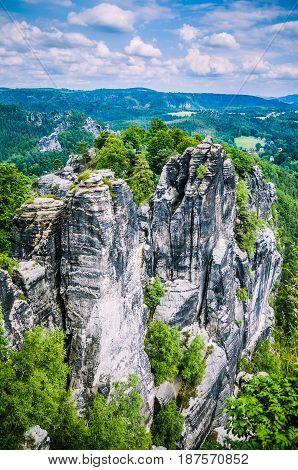 Bastei rock formation in Saxon Switzerland National Park, Dresden, Germany.