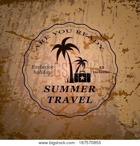 Vector illustration of palms and suitcase with summer travel words.
