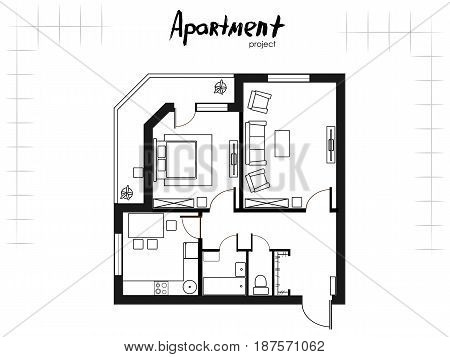 black and white apartment project. Floor plan with furniture. Kitchen, living room, bedroom and balcony. Handwritten inscription. Vector illustration of top view