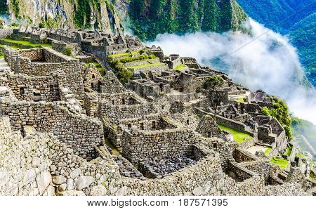 Machu Picchu Incas ruins in the peruvian Andes at Cuzco Peru