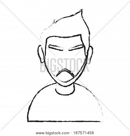 monochrome blurred silhouette with of cartoon half body faceless man with moustache and eyebrows vector illustration