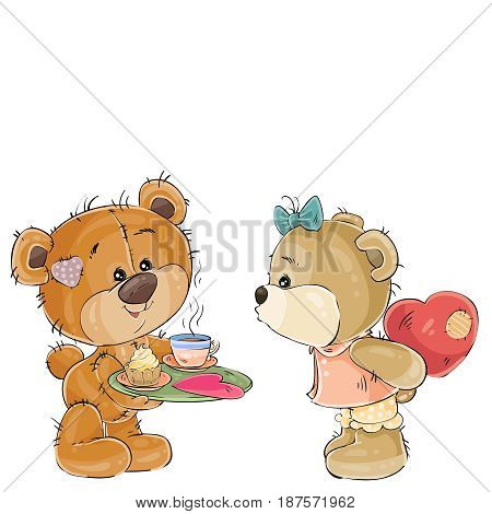 Vector illustration of a loving brown teddy bear carries a tray with breakfast and a valentine to her girlfriend. Print, template, design element