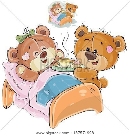 Vector illustration of a loving brown teddy bear brought a tray with breakfast and his girlfriend lying in bed. Print, template, design element