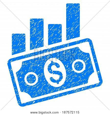 Grunge Sales Bar Chart icon with grunge design and dirty texture. Unclean vector blue pictogram for rubber seal stamp imitations and watermarks. Draft sticker symbol.