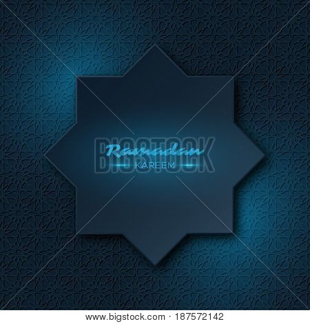 Ramadan Kareem octagon. Holiday background with blue glowing light and traditional style pattern. Vector illustration.