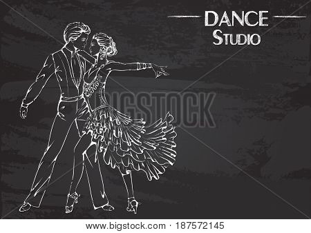 Monochrome vector illustration of young couple dancing latina on abstract grunge background. Design for flyers, magazines and commercial banners. Series of dancing men and dance accessories on chalkboard.