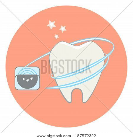 Cute flat tooth and dental floss icon dental vector illustration. tooth care