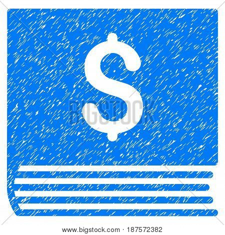 Grunge Sales Book icon with grunge design and dirty texture. Unclean vector blue pictogram for rubber seal stamp imitations and watermarks. Draft sticker symbol.