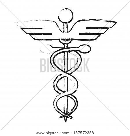 monochrome blurred silhouette of cartoon health symbol with serpent entwined vector illustration