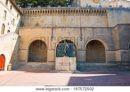 Monument Girolamo Gozi and defenders of freedom 1739-1740 in San Marino Europe