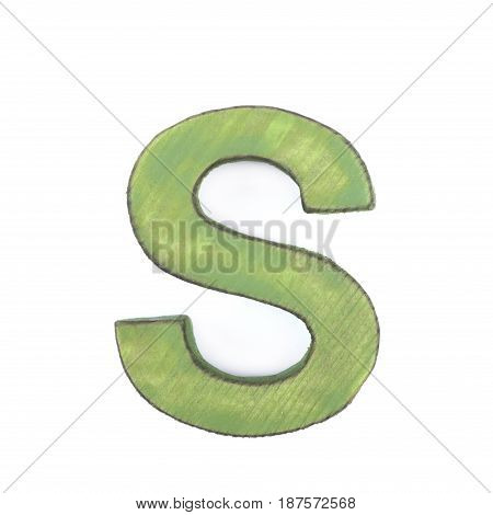 Single sawn wooden letter S symbol coated with paint isolated over the white background