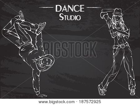Monochrome vector illustration of young couple dancing street dance on abstract grunge background. Design for flyers, magazines and commercial banners. Series of dancing men and dance accessories on chalkboard.