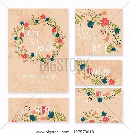 Wedding invitation card set. Thank you save the date RSVP just married.