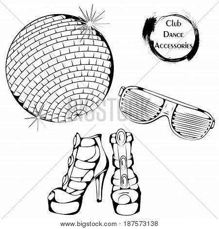 Vector illustration of club dance accessories on white background. Dance Icon. Design for flyers, magazines and commercial banners. Series of dancing men and dance accessories.