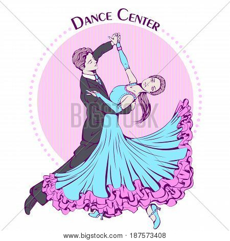 Color vector illustration of young couple dancing classic dance on color background. Dance Icon. Design for flyers, magazines and commercial banners. Series of dancing men and dance accessories.