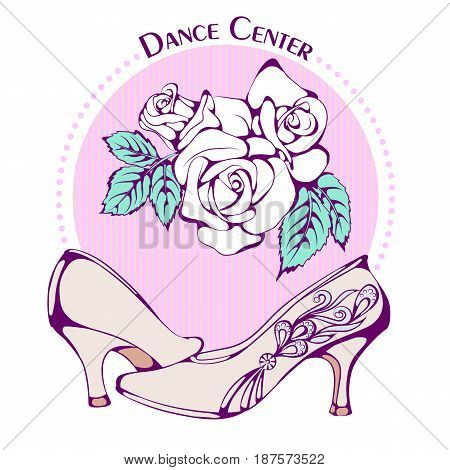 Color vector illustration of ballroom standard shoes on color background. Dance Icon. Design for flyers, magazines and commercial banners. Series of dancing men and dance accessories.