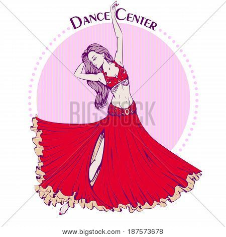 Color vector illustration of young girl dancing belly dance on color background. Dance Icon. Design for flyers, magazines and commercial banners. Series of dancing men and dance accessories.