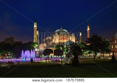 ISTANBUL TURKEY - MAY 1 2017: View of the Hagia Sophia mosque at evening in Istanbul Turkey