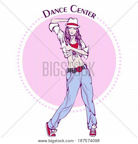 Color vector illustration of young girl dancing street dance on color background. Dance Icon. Design for flyers, magazines and commercial banners. Series of dancing men and dance accessories.