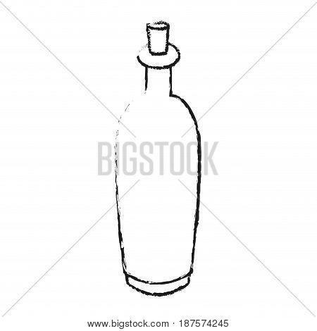 monochrome blurred silhouette with spa bottle with cork vector illustration