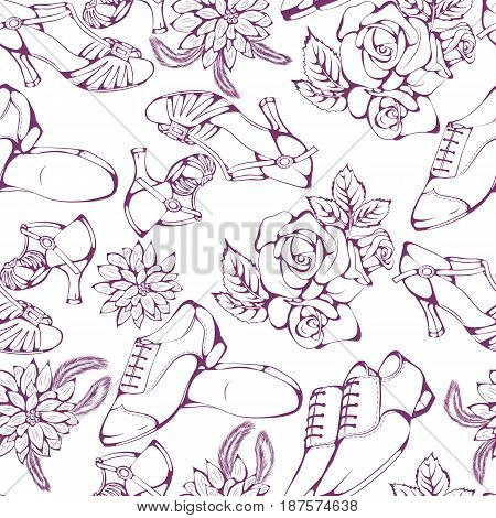 Seamless pattern of ballroom dancing latina accessories on white background. Vector illustration. Design for flyers, magazines and commercial banners.
