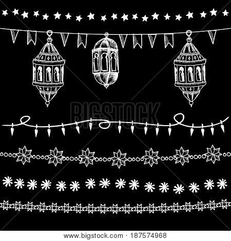 Set of doodle chalk garlands, illuminations, with stars, party flags and Arabic lanterns. Isolated vector elements, borders on blackboard, Ramadan graphic objects.