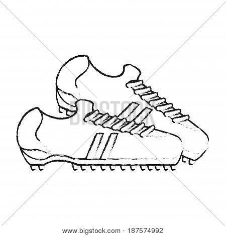 monochrome blurred silhouette with pair of soccer shoes vector illustration