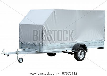 Car trailer with canvas awning isolated on white background.