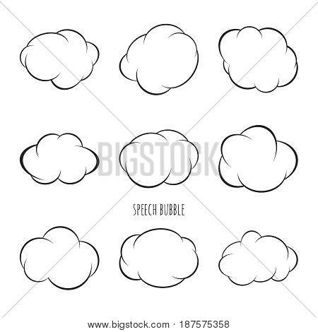 Set Speech bubble icon. Vector frame. Comic text box.